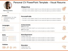 Personal Cv Powerpoint Template Visual Resume