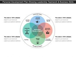 Personal Development Plan Showing Leadership Teamwork And Business Skills