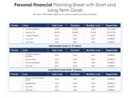 Personal Financial Planning Sheet With Short And Long Term Goals