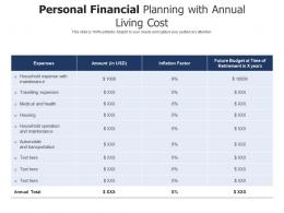 Personal Financial Planning With Annual Living Cost