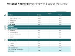 Personal Financial Planning With Budget Worksheet