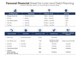 Personal Financial Sheet For Loan And Debt Planning