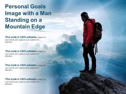 Personal Goals Image With A Man Standing On A Mountain Edge