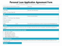 Personal Loan Application Agreement Form