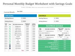 Personal Monthly Budget Worksheet With Savings Goals
