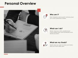 Personal Overview Finance Ppt Powerpoint Presentation Professional Graphic Images