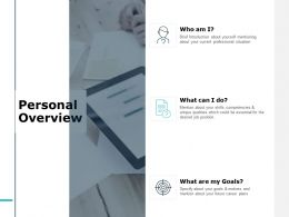 Personal Overview Management Ppt Powerpoint Presentation File Model