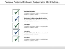 Personal Projects Continued Collaboration Contributors Reviewers Screen Input