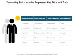 Personality Traits Includes Employees Key Skills And Traits