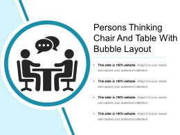 Persons Thinking Chair And Table With Bubble Layout