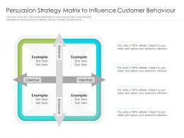 Persuasion Strategy Matrix To Influence Customer Behaviour