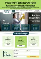 Pest Control Services One Page Responsive Website Template Report PPT PDF Document