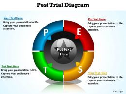 pest trial with split pie chart and arrows pointing inwards diagram powerpoint diagram templates graphics 712