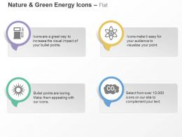 Petrol Pump Nuclear Energy Sunlight Carbon Di Oxide Emission Ppt Icons Graphics