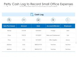 Petty Cash Log To Record Small Office Expenses