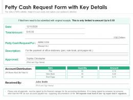 Petty Cash Request Form With Key Details