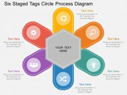 pf Six Staged Tags Circle Process Diagram Flat Powerpoint Design
