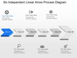 pg Six Independent Linear Arrow Process Diagram Powerpoint Template