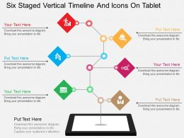 pg Six Staged Vertical Timeline And Icons On Tablet Flat Powerpoint Design