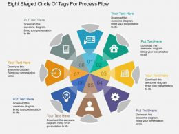 Ph Eight Staged Circle Of Tags For Process Flow Flat Powerpoint Design