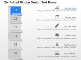ph Six Folded Ribbon Design Text Boxes Powerpoint Template