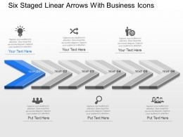 ph Six Staged Linear Arrows With Business Icons Powerpoint Template Slide