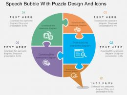 ph Speech Bubble With Puzzle Design And Icons Flat Powerpoint Design