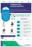 Pharmaceutical Business Homepage One Page Template Presentation Report Infographic PPT PDF Document