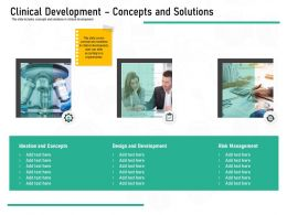 Pharmaceutical Marketing Clinical Development Concepts And Solutions Ppt Powerpoint Presentation Outfit