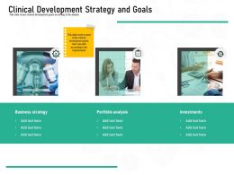 Pharmaceutical Marketing Clinical Development Strategy And Goals Ppt Powerpoint Presentation Ideas Designs