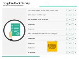 Pharmaceutical Marketing Drug Feedback Survey Ppt Powerpoint Presentation Pictures Template