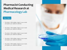 Pharmacist Conducting Medical Research At Pharmacology Lab