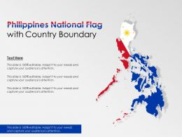Philippines National Flag With Country Boundary