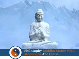 Philosophy Buddha Statue With Mountains And Cloud