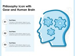 Philosophy Icon With Gear And Human Brain