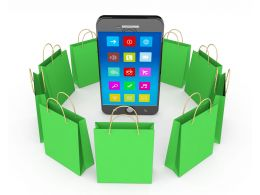 Phone And Shopping Bags Stock Photo