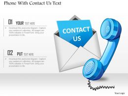 Phone With Contact Us Text Powerpoint Template