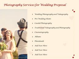 Photography Services For Wedding Proposal Ppt Powerpoint Presentation File Show