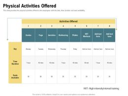 Physical Activities Offered Kickboxing Ppt Powerpoint Presentation Slides Graphics Template