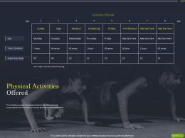 Physical Activities Offered Ppt Powerpoint Presentation Infographics Format