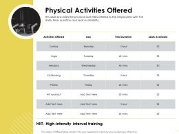 Physical Activities Offered Zumba M1647 Ppt Powerpoint Presentation File Information