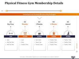 Physical Fitness Gym Membership Details Ppt Templates
