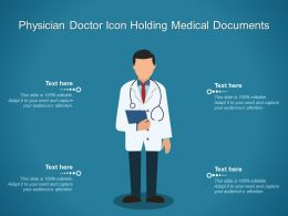 Physician Doctor Icon Holding Medical Documents