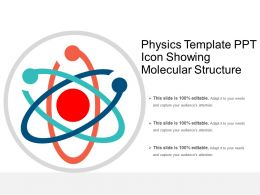 Physics Template Ppt Icon Showing Molecular Structure