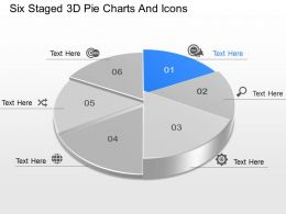 pi Six Staged 3d Pie Charts And Icons Powerpoint Template