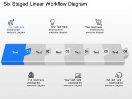 pi Six Staged Linear Workflow Diagram Powerpoint Template Slide