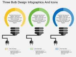pi Three Bulb Design Infographics And Icons Flat Powerpoint Design