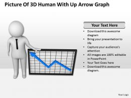 Picture Of 3d Human With Up Arrow Graph Ppt Graphics Icons Powerpoint