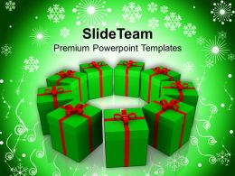 Pictures Of Christmas Merry Packed Gifts In Circle Templates Ppt Backgrounds For Slides Powerpoint
