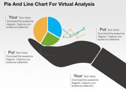 Pie And Line Chart For Virtual Analysis Powerpoint Slides